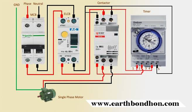 Single Phase Motor Starter With Timer Diagram Earth Bondhon