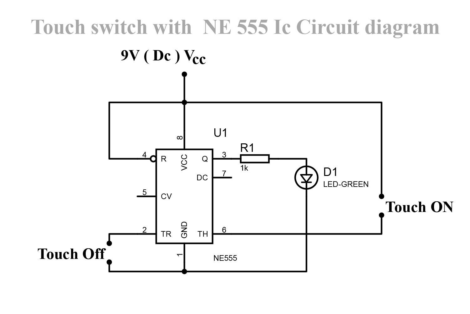 Ne555 On Off Touch Switch Circuit Earth Bondhon Dual Led Chaser Arduino Project For Beginners This Bit Is Predicated The Well Known Timer Ic 555 Ic1 That Drives A Relay Acts As Metal Surfaces Will Have